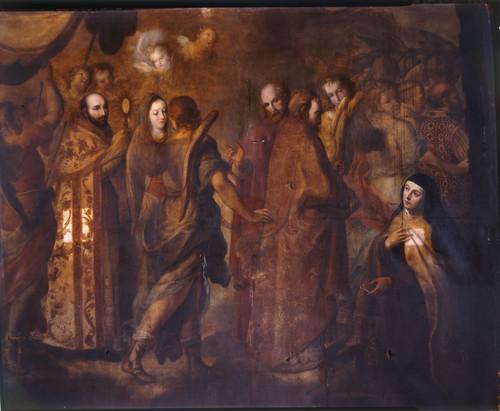 El día de Corpus ve santa Teresa una procesión en el cielo y que san Ignacio lleva el Santísimo Sacramento