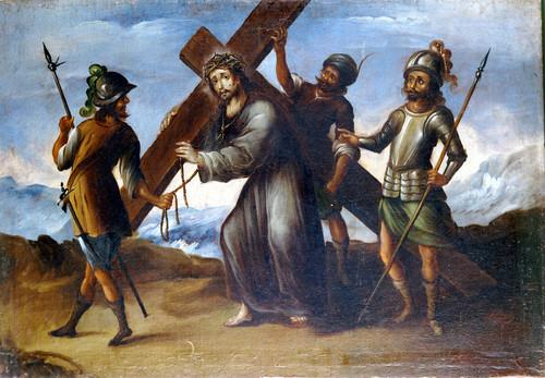 Simón Cirineo ayuda a Jesús a llevar la cruz