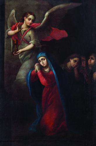 Virgen de la Soledad con el ángel de la pasión