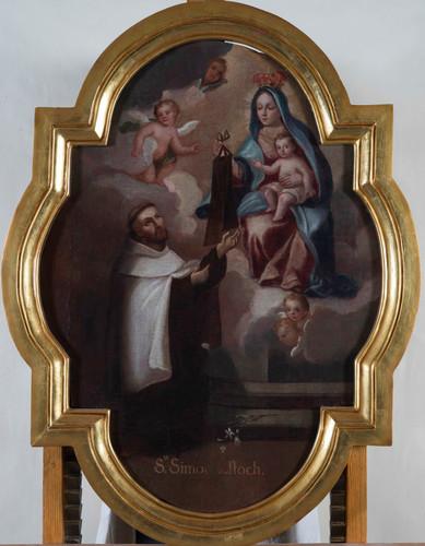 San Simón Stock recibiendo el escapulario de la Virgen