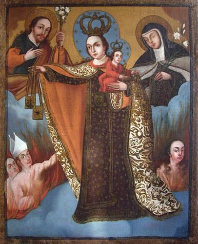 Virgen del Carmen intercesora de ánimas con santa Teresa y san José