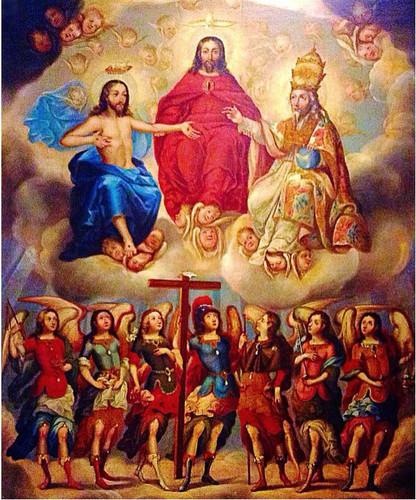 La Santísima Trinidad y los siete arcángeles