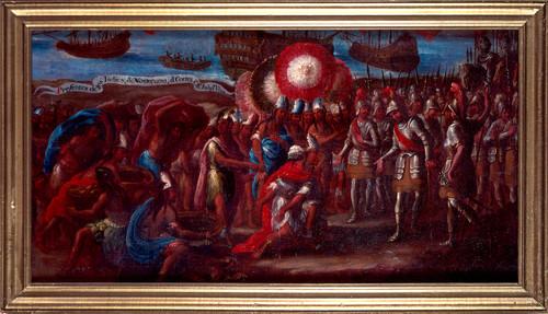Presentes de los indios de Moctezuma a Hernán Cortés en San Juan de Ulúa