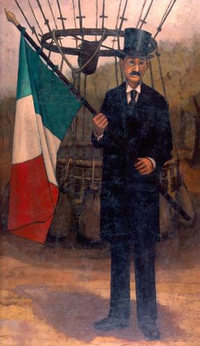 Joaquín Cantolla y Rico con su globo aerostático