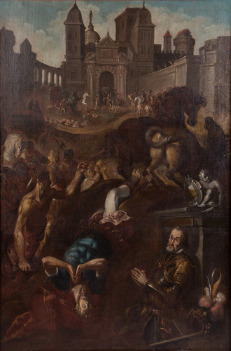 Martirio de San Hipólito con cortes de donante
