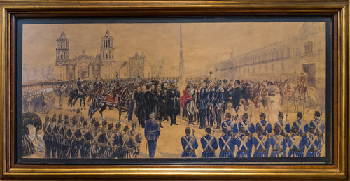 Lic. Benito Juárez, izando la enseña patria en la Plaza de la Constitución, frente al ejército