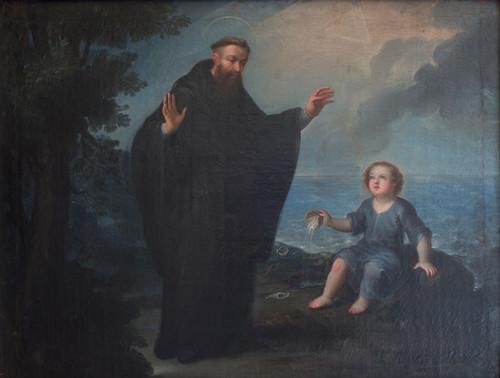 San Agustín con niño en el mar