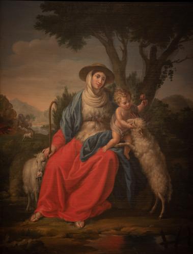 Virgen con niño Dios y borregos