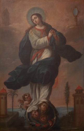 Virgen sobre el mundo con ángeles (Tota Pulchra)