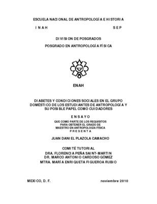 Diabetes y condiciones sociales en el grupo doméstico de los estudiantes de antropología y su posible papel como cuidadores