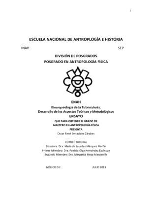Bioarqueología de la tuberculosis. Desarrollo de los aspectos teóricos y metodológicos