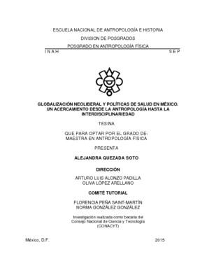 Globalización neoliberal y política de salud en México. Un acercamiento desde la antropología hasta la interdiciplinariedad