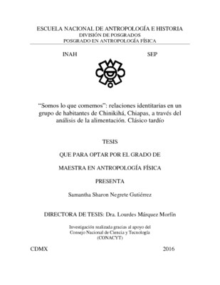 """""""Somos lo que comemos"""" : relaciones identitarias en un grupo de habitantes de Chinikihá, Chiapas, a través del análisis de la alimentación. Clásico tardío"""