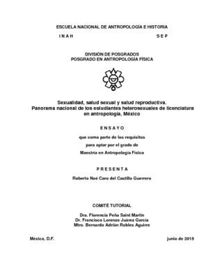 Sexualidad, salud sexual y salud reproductiva. Panorama nacional de los estudiantes heterosexuales de licenciatura en antropología. México