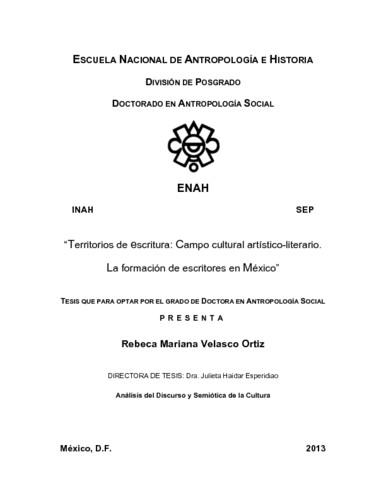 Territorios de escritura : campo cultural artístico-literario. La formación de escritores en México