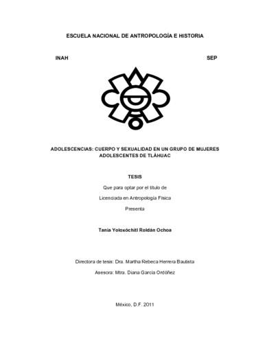 Adolescencias: cuerpo y sexualidad en un grupo de mujeres adolescentes de Tláhuac