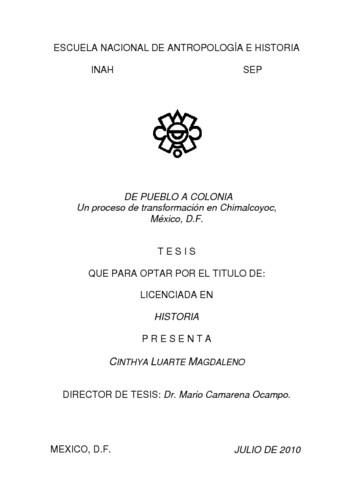 De pueblo a colonia: un procesos de transformación en Chimalcoyoc, México, D.F.