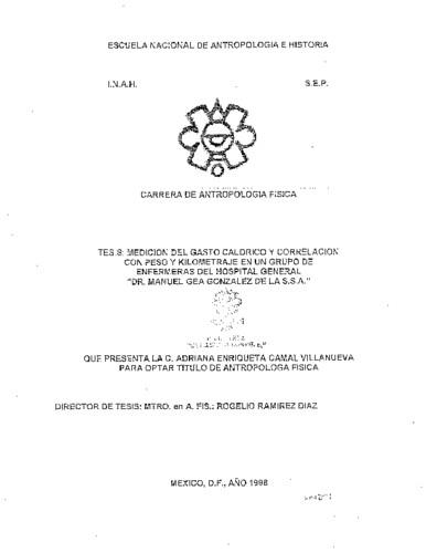 """Medición del gasto calórico y correlación con peso y kilometraje en un grupo de enfermeras del Hospital General """"Dr. Manuel Gea González"""" de la S. S. A."""