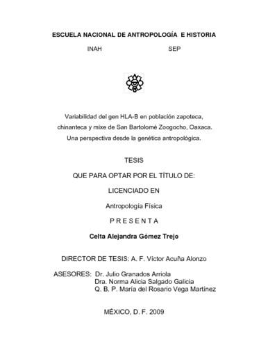 Variabilidad del gen HLA-B en población zapoteca, chinanteca y mixe de San  Bartolomé Zoogocho, Oaxaca: una perspectiva desde la genética antropológica