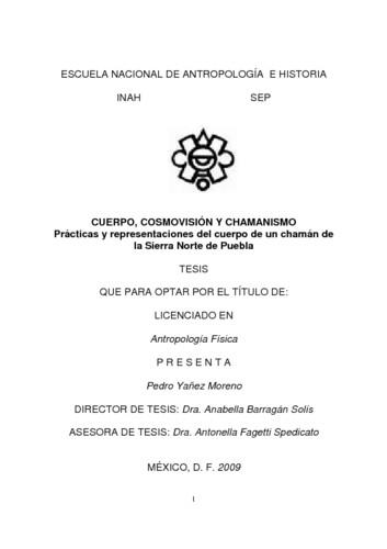 Cuerpo, cosmovisión y chamanismo: practicas y representaciones del cuerpo de un chamán de la sierra norte de Puebla