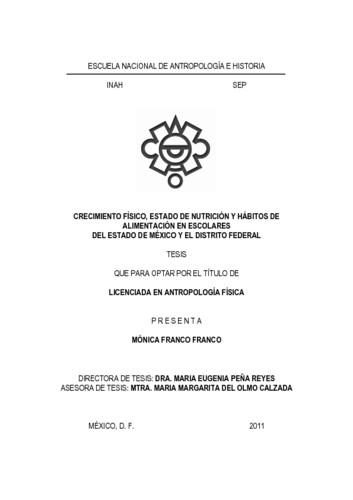 Crecimiento físico, estado de nutrición y hábitos de alimentación en  escolares del Estado de México y el Distrito Federal