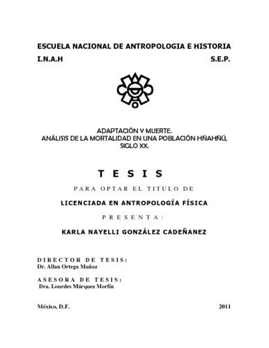 Adaptación y Muerte. Análisis de la mortalidad en una población Hñahñú, Siglo XX