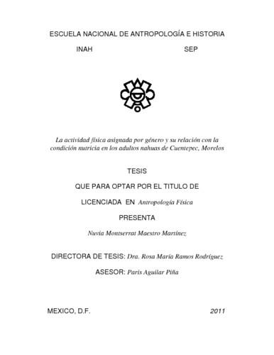 La actividad física asignada por género y su relación con la condición nutricia en los adultos nahuas de Cuentepec, Morelos.