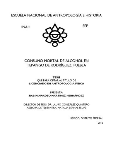 Consumo mortal de alcohol en Tepango de Rodríguez, Puebla