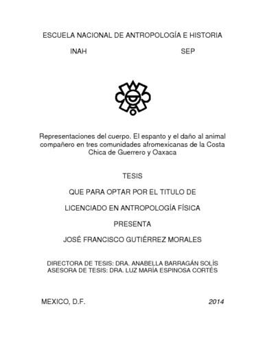 Representaciones del cuerpo. El espanto y el daño al animal compañero en tres comunidades afromexicanas de la Costa Chica de Guerrero y Oaxaca