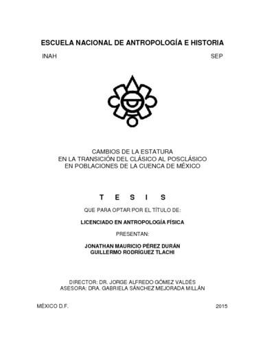 Cambios de la estatura en la transición del clásico al posclásico en poblaciones de la cuenca de México