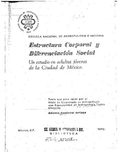 Estructura corporal y diferenciación social: un estudio en adultos jóvenes de la Ciudad de México