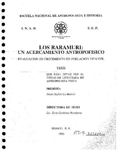 Los raramuri: un acercamiento antropofísico, evaluación de crecimiento en  población infantil