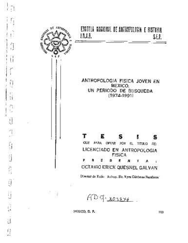 Antropología física joven en México: un periodo de búsqueda (1974-1991)