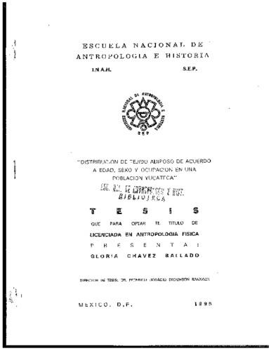 Distribución de tejido adiposo de acuerdo a edad, sexo y ocupación en una población yucateca