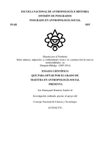 Disputa por el territorio. Entre minería, migración y confinamiento tóxico: la construcción de nuevas territorialidades en Zimapan-Hidalgo (2005-2014)