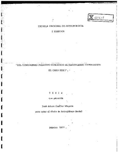 Del comunismo primitivo nomádico al capitalismo dependiente (el caso Seri)