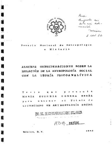 Algunas consideraciones sobre la relación de la antropología social con la teoría psicoanalítica