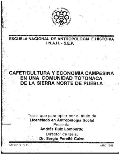 Cafeticultura y economía campesina en una comunidad totonaca de la Sierra Norte de Puebla