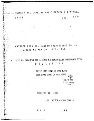 Antropología del exilio salvadoreño en la Ciudad de México, 1979-1992