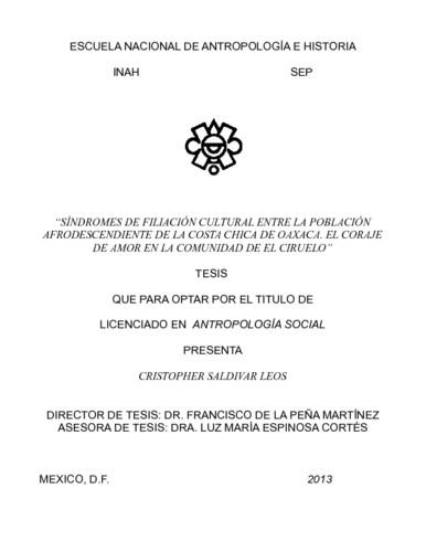 """""""Síndrome de filiación cultural entre la población afrodescendiente de la costa chica de Oaxaca. El coraje de amor en la comunidad de el ciruelo"""""""