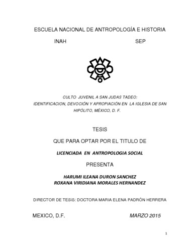 Culto juvenil a San Judas Tadeo: identificación, devoción y apropiación en  la iglesia de San Hipólito, México, D.F