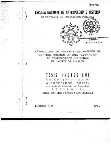 Estructura de poder y mecanismos de control interno en una federación de comunidades indígenas del norte de Sinaloa