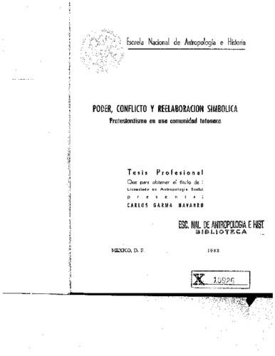 Poder, conflicto y reelaboración simbólica : protestantismo en una comunidad totonaca