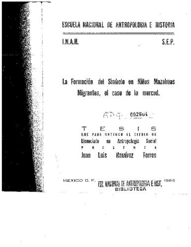La formación del símbolo en niños mazahuas migrantes, el caso de la Merced