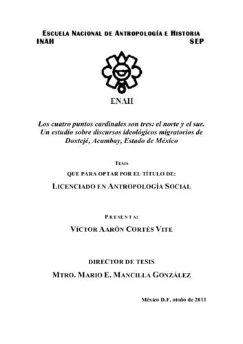 Los cuatro puntos cardinales son tres: el norte y el sur : un estudio sobre discursos ideológicos migratorios de Doxtejé, Acambay, Estado de México