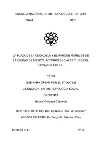 La plaza de la ciudadela y el parque Morelos de la Ciudad de México: actores sociales y uso del espacio público