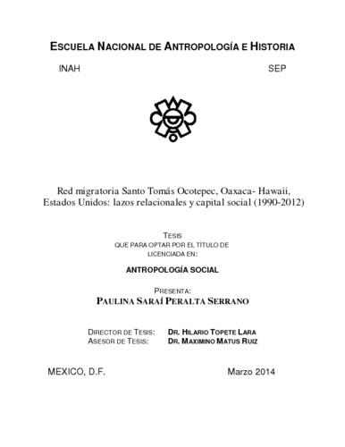Red migratoria  Santo Tomás Ocotepec, Oaxaca-Hawaii, Estados Unidos : lazos relacionales y capital social (1990-2012)