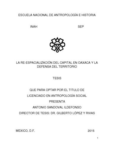 La re-espacialización del capital en Oaxaca y la defensa del territorio