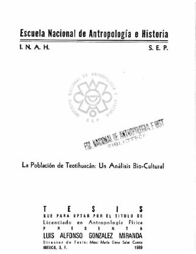 La población de Teotihuacán: un análisis bio-cultural