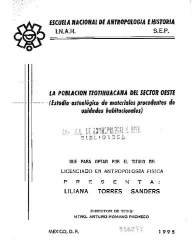 La población teotihuacana del sector Oeste : estudio osteológico de materiales procedentes de unidades habitacionales